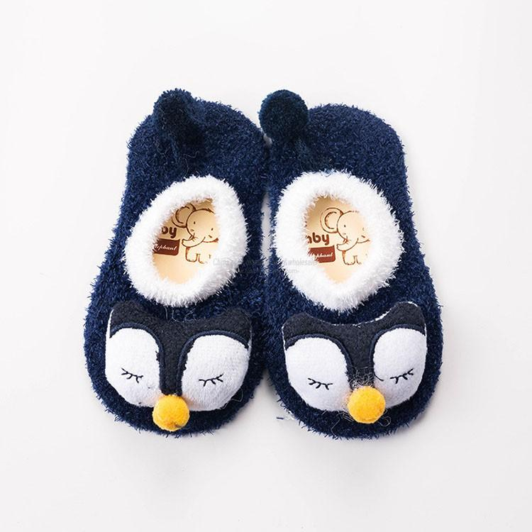 3D animal faces soft feather yarn non skid baby floor shoe socks