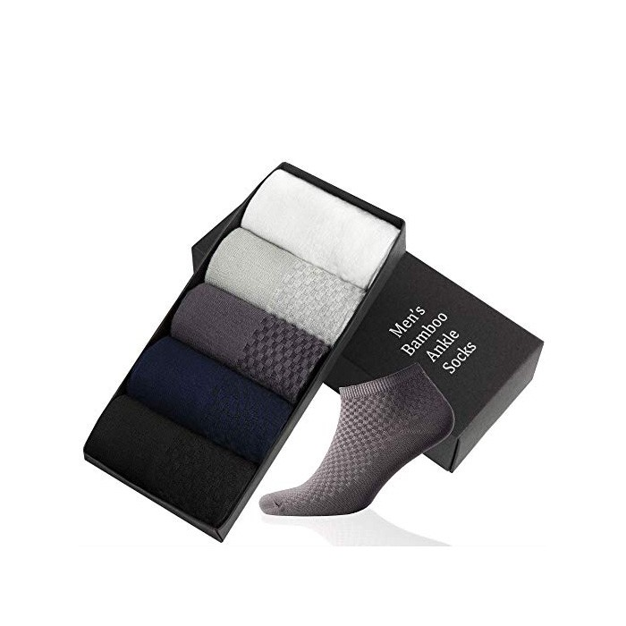 5-Pair Gift Box Soft and Non Slip Mens Bamboo Ankle Socks