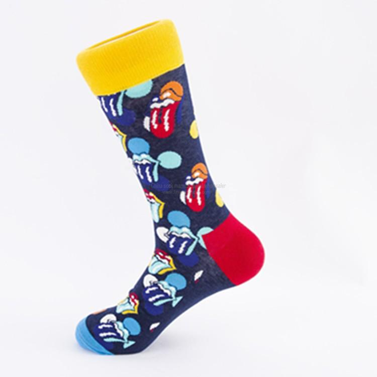 Custom sock manufacturer bulk funky lip print cotton socks