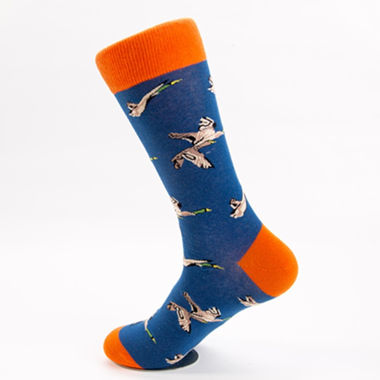 Korean happy men's cotton socks with flowers and birds