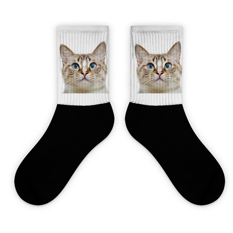Wholesale custom 360 3d print pet theme cotton crew socks