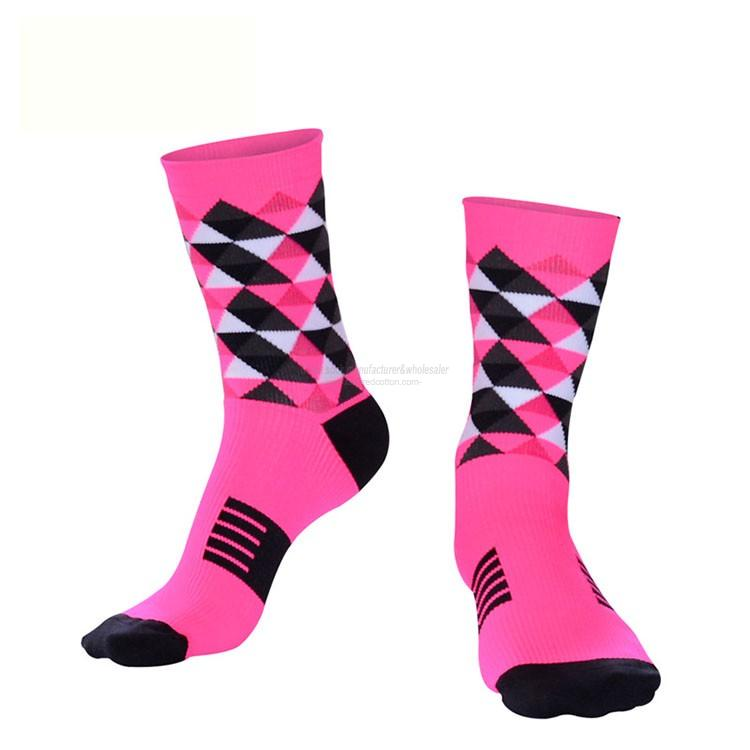 Wholesale custom diamond pattern nylon crew cycling socks