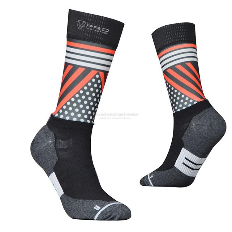 Wholesale custom mid calf neon nylon cool bike riding socks