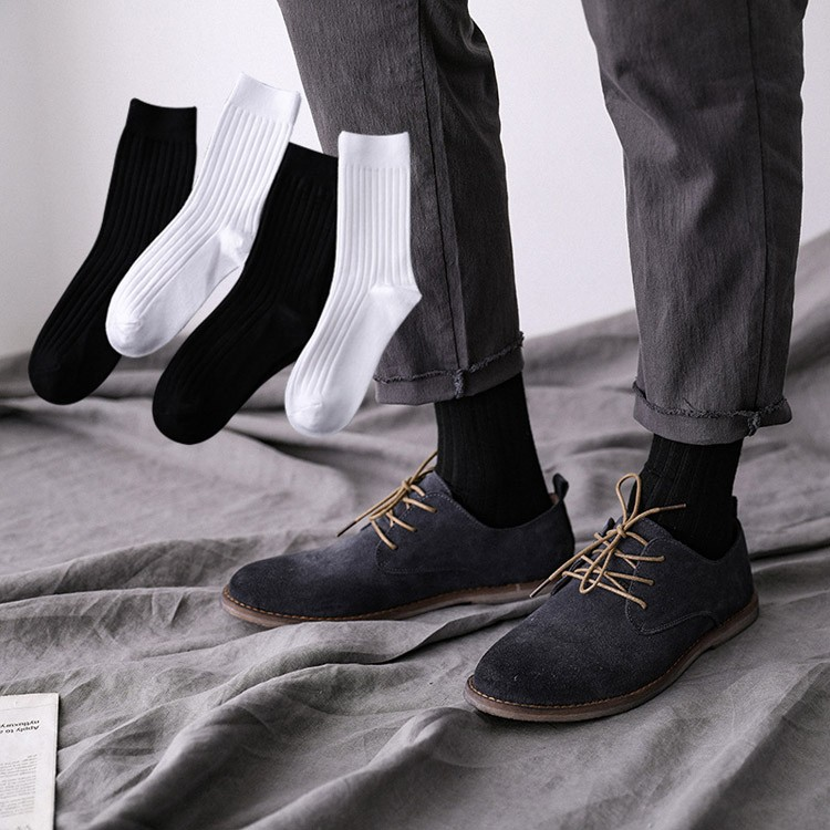 Wholesale mens vertical strip bamboo business work socks